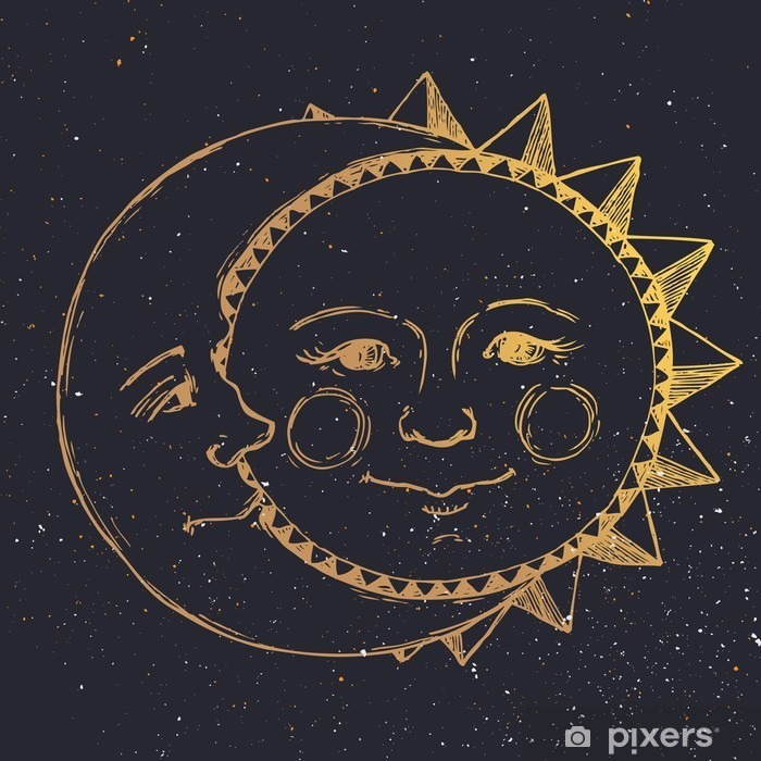 Hand drawn sun with moon Framed Poster - Graphic Resources