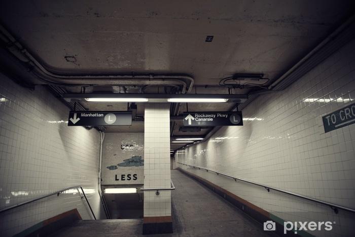 Subway Station Entrance Exit, Brooklyn, New York. Vinyl Wall Mural - Transport