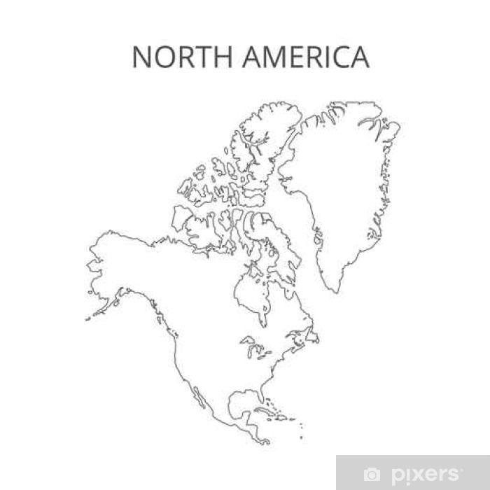 Plakat Ameryka Północna Mapa, ilustracji wektorowych. - Zasoby graficzne