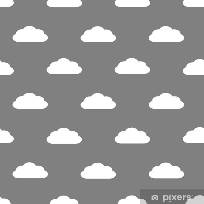 Problemfri mønster af hvide fluffy skyer på en grå baggrund Vinyl fototapet - Grafiske Ressourcer