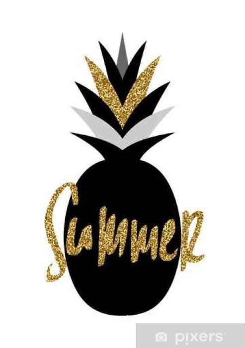 Naklejka Pixerstick Czarno-Złoty Ananas Projekt - Zasoby graficzne