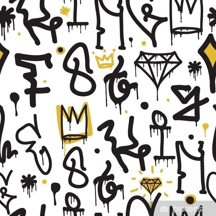 Naklejka na biurko i stół Graffiti bezszwowe tło wzór - Zasoby graficzne