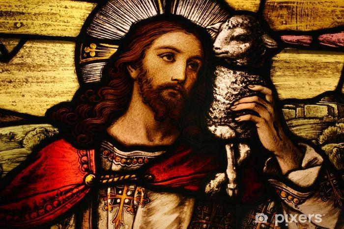 Jesus with Lamb Pixerstick Sticker - Christianity