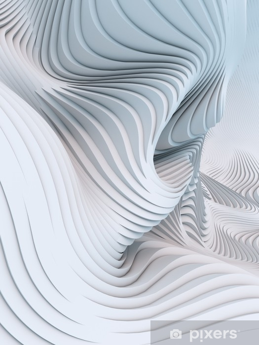 Abstract 3d rendering wavy band background surface Self-Adhesive Wall Mural - Graphic Resources
