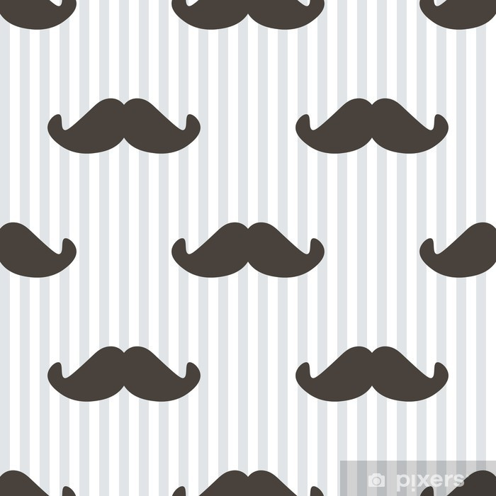 Sticker Pixerstick Design plat, vecteur hippie moustache et rayures de fond sans soudure. -