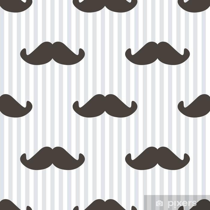 Pixerstick Sticker Plat ontwerp, vector hipster snor en strepen naadloze patroon achtergrond. -