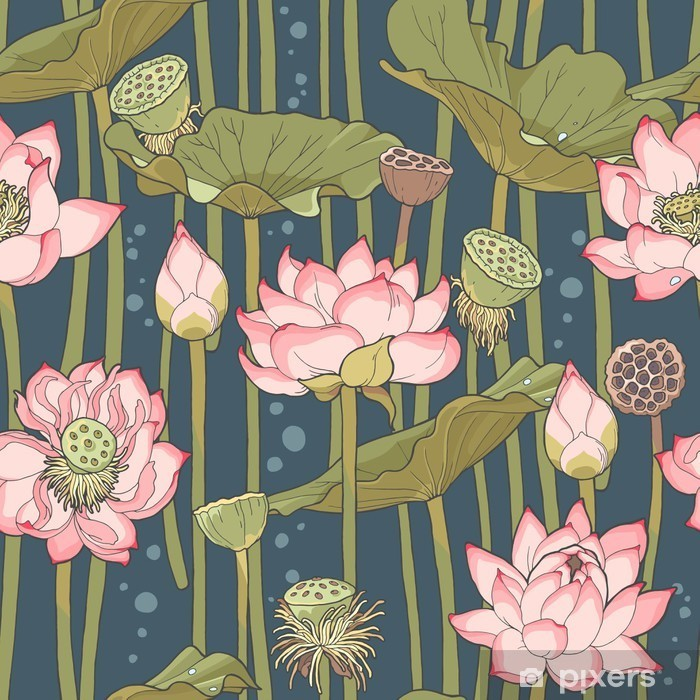 Blooming lotus seamless Pixerstick Sticker - Relaxation