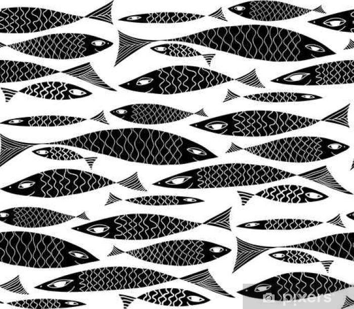 Fototapeta samoprzylepna Wektor podwodne czarno-biały wzór. - Zwierzęta