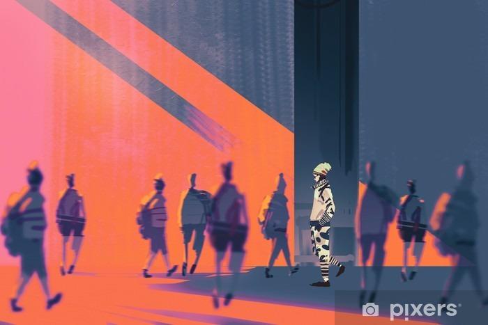 Naklejka Pixerstick Man walking na inny sposób, unikalna koncepcja, ilustracja - Ludzie