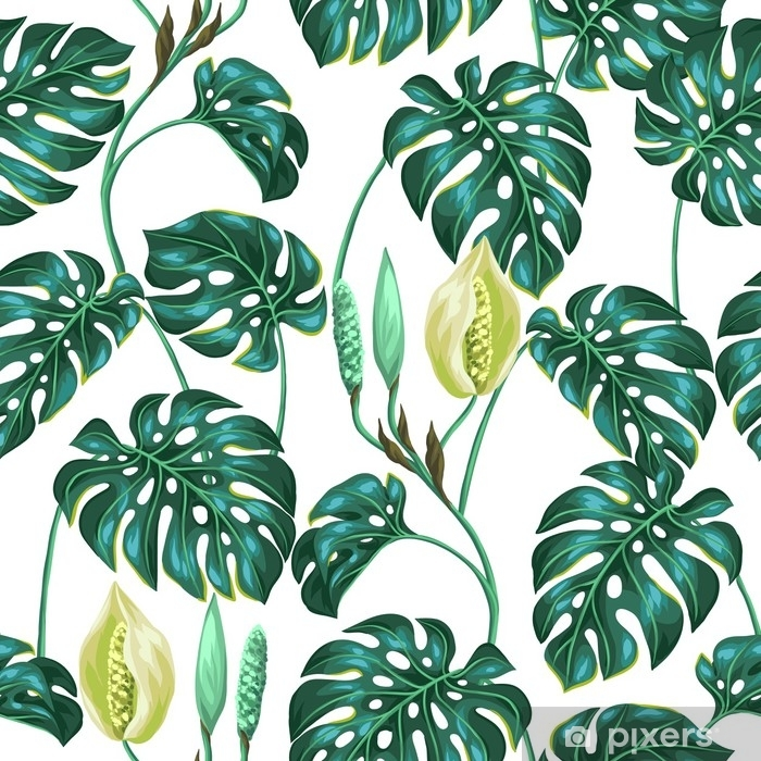 Seamless pattern with monstera leaves. Decorative image of tropical foliage and flower. Background made without clipping mask. Easy to use for backdrop, textile, wrapping paper Vinyl Wall Mural - Plants and Flowers