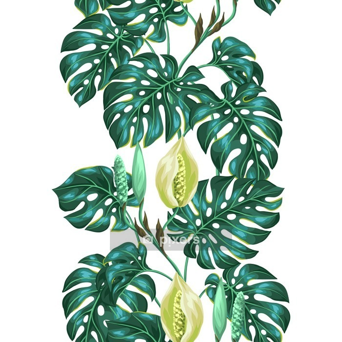 Seamless pattern with monstera leaves. Decorative image of tropical foliage and flower. Background made without clipping mask. Easy to use for backdrop, textile, wrapping paper Wall Decal -