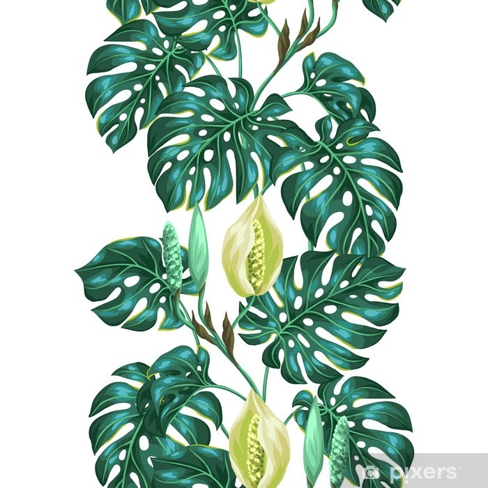 Seamless pattern with monstera leaves. Decorative image of tropical foliage and flower. Background made without clipping mask. Easy to use for backdrop, textile, wrapping paper Vinyl Wall Mural -