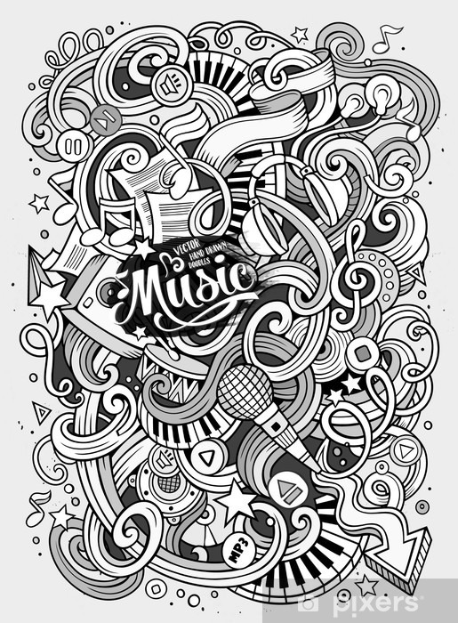 Naklejka Pixerstick Cartoon ręcznie rysowane Doodles ilustracji Musical - Hobby i rozrywka