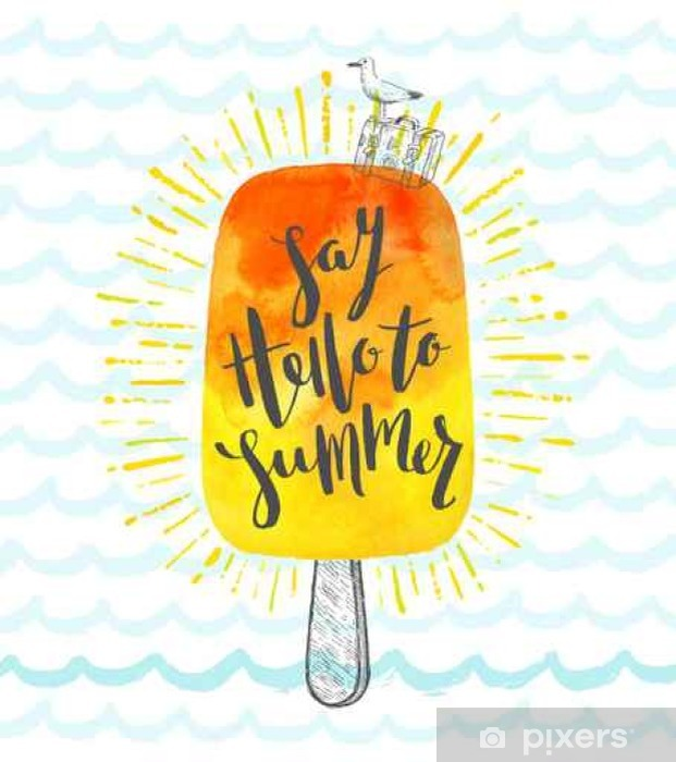 Papier peint vinyle Vacances d'été dessinée main illustration vectorielle avec la calligraphie au pinceau - Passe-temps et loisirs