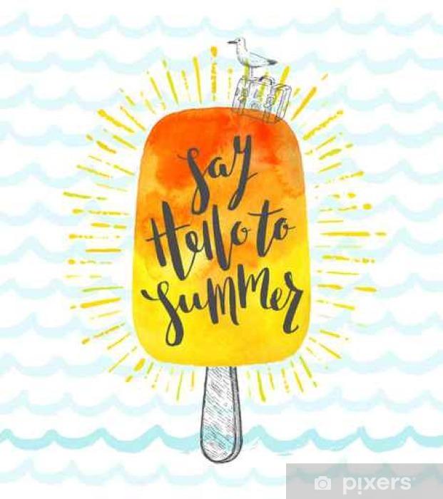 Sticker Pixerstick Vacances d'été dessinée main illustration vectorielle avec la calligraphie au pinceau - Passe-temps et loisirs