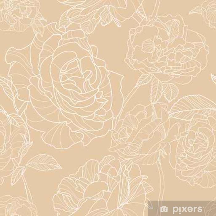 Papier Peint Fond Beige Clair Avec La Main Contour Dessine Fleurs