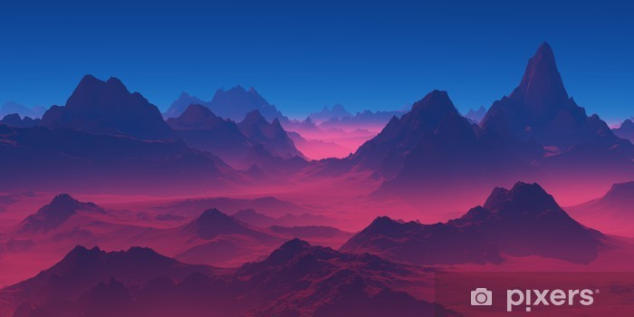 Vinilo Pixerstick Montañas en la puesta del sol - Paisajes