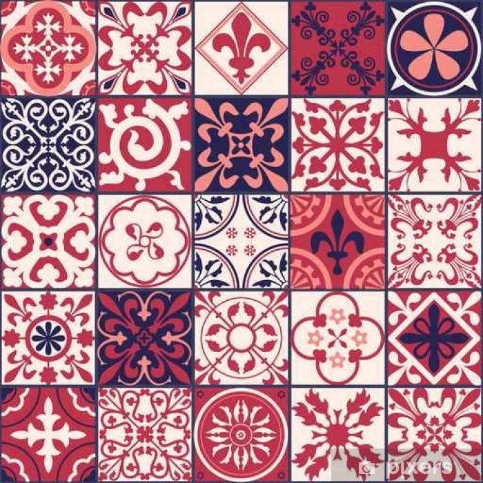 Sticker Pixerstick Carreaux marocains Motif - Plantes et fleurs