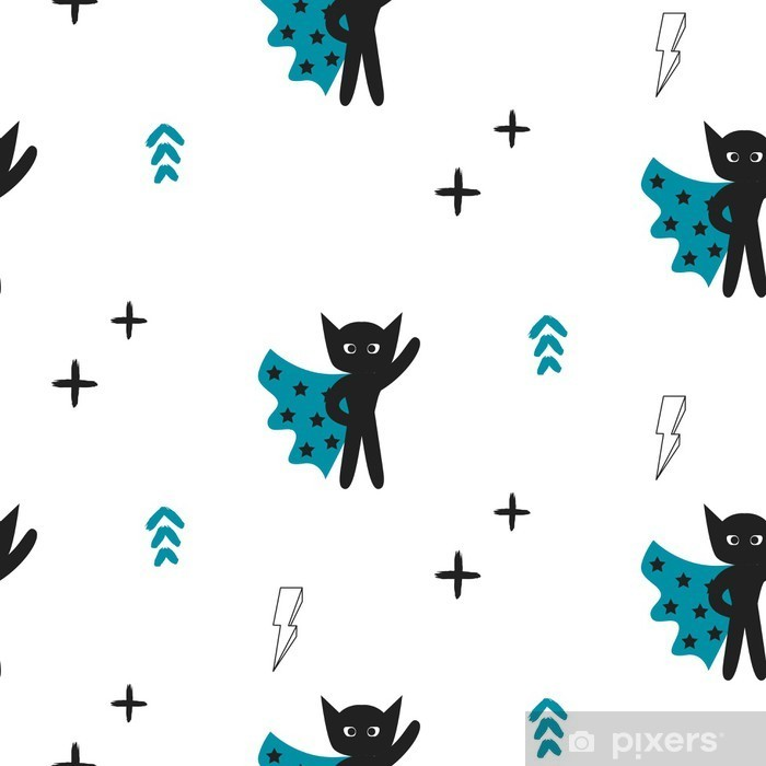 Superhero in blue cape with stars seamless kid pattern. Hero boy in mask black and white pattern for baby textile prints. Vinyl Wall Mural - Kids room