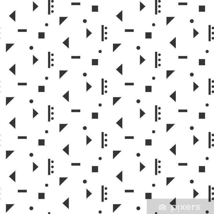 Naklejka Pixerstick Abstrakcyjne kształty geometryczne białym szwu. Vintage inspirowane geometrią szwu szary na białym tle. - Zasoby graficzne