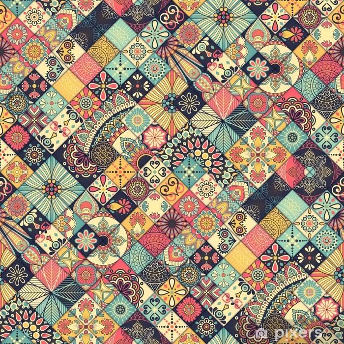Carta da Parati in Vinile Ethnic floral seamless pattern - Risorse Grafiche