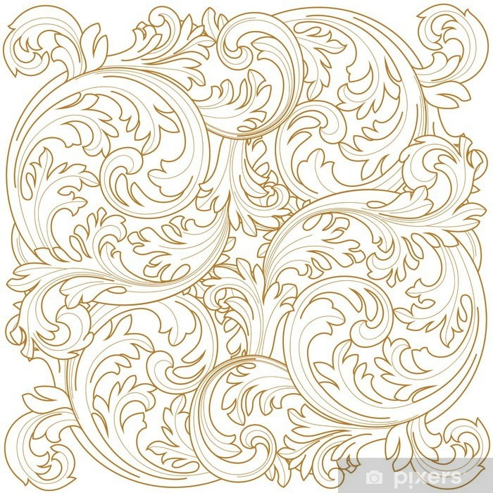Golden Vintage Frame Scroll Ornament Engraving Border Floral Retro Pattern  Antique Style Acanthus Foliage Swirl Decorative
