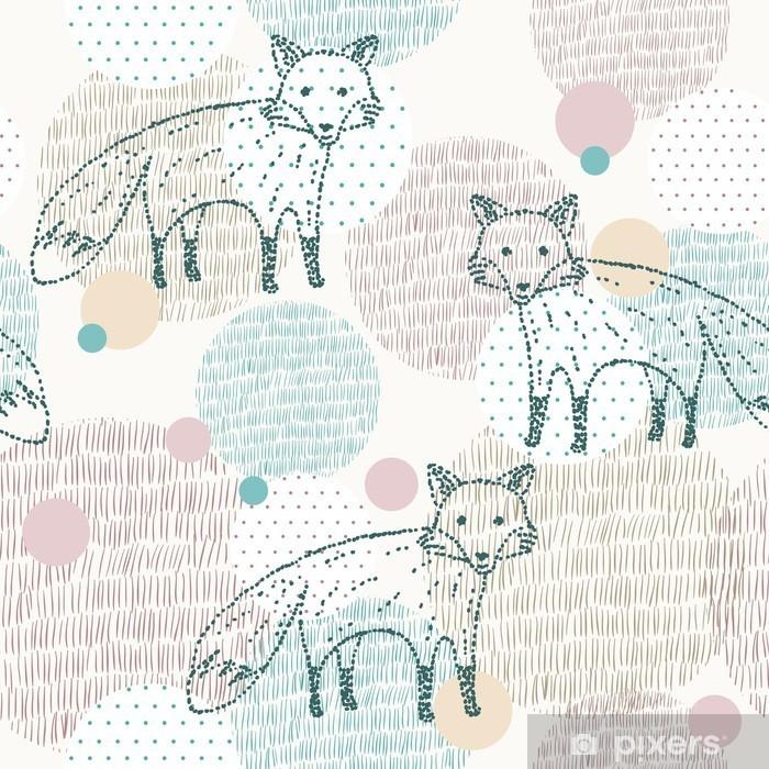 Mural de Parede em Vinil Vetor tirada padrão geométrico sem emenda com raposa - Animais