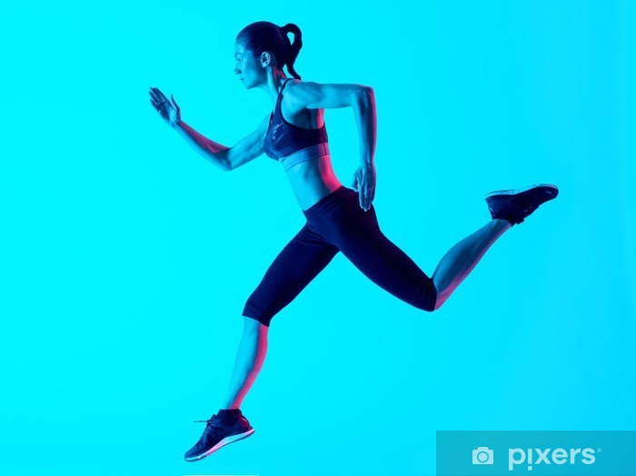 Fototapeta winylowa Kobieta biegacz izolowane - Sport