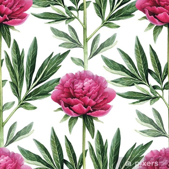 Watercolor peony flowers illustration. Seamless pattern Pixerstick Sticker - Flowers and plants