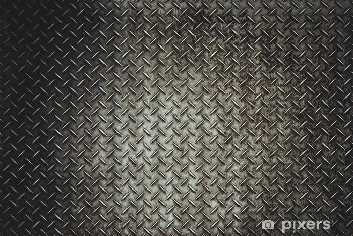 Pixerstick Sticker Terug grunge stalen vloer plaat achtergrond in vitage licht - Grafische Bronnen