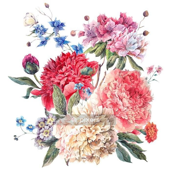 Vintage kukka kortin kukkivat peonies Seinätarra - iStaging