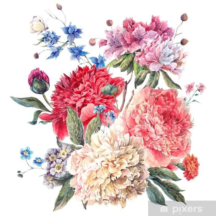 Pixerstick Sticker Vintage Wenskaart Bloemen met Blooming Pioenen - iStaging