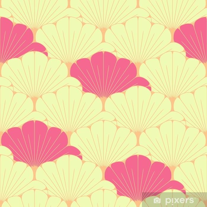 Zasłona okienna nieprzepuszczająca światła Japoński styl bez szwu dachówka z egzotycznym wzorem liści w kolorze różowym - Zasoby graficzne