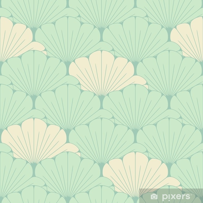 a Japanese style seamless tile with exotic foliage pattern in soft blue Pixerstick Sticker - Graphic Resources