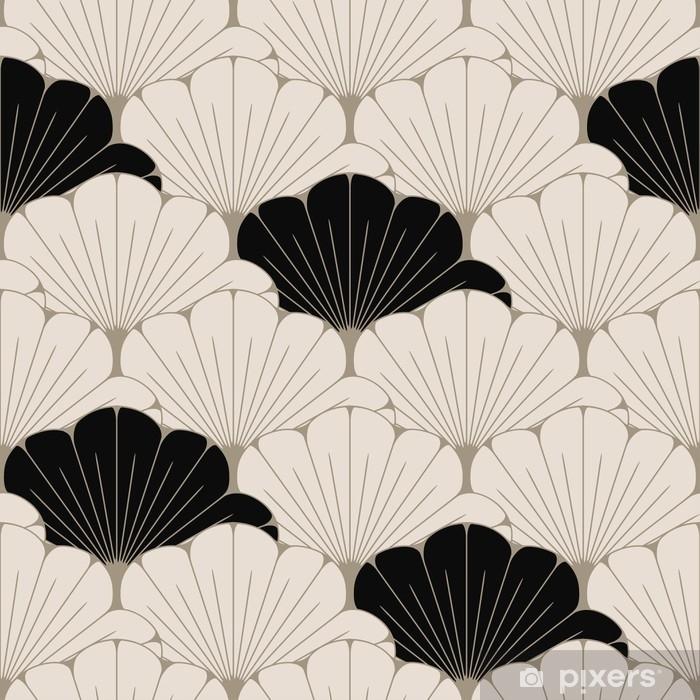 Alfombrilla de baño Un azulejo inconsútil del estilo japonés con el modelo exótico del follaje en marrón y negro suaves - Recursos gráficos