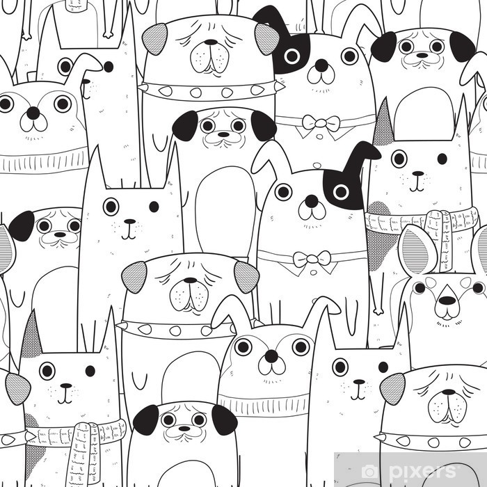 Seamless Dogs pattern Pixerstick Sticker - Animals