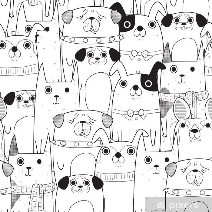 Vinilo Pixerstick Perros seamless pattern - Animales