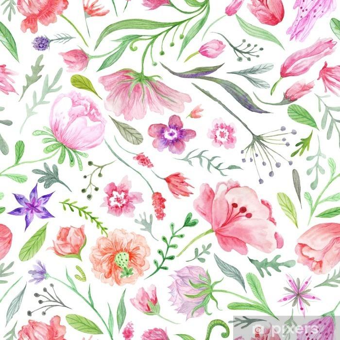 Bright Vintage Watercolor Summer Pattern Pixerstick Sticker - Plants and Flowers