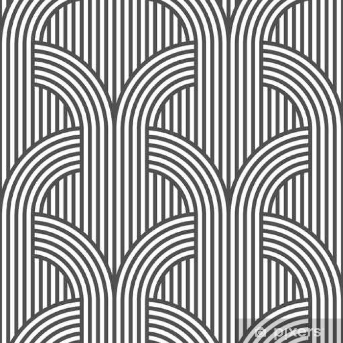 Black and white geometric striped seamless pattern - variation 5 Vinyl Wall Mural - Graphic Resources
