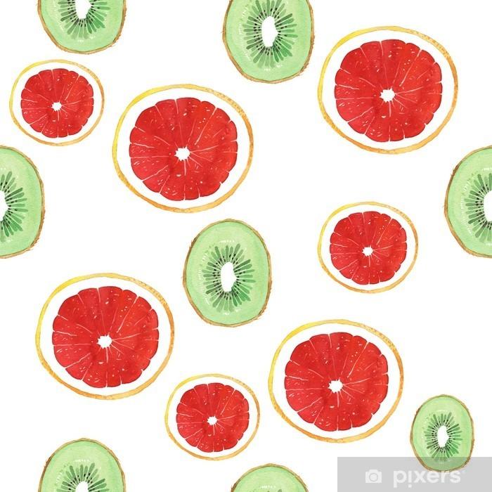 Fototapeta winylowa Akwarela grejpfrut owoce kiwi wzór - Jedzenie