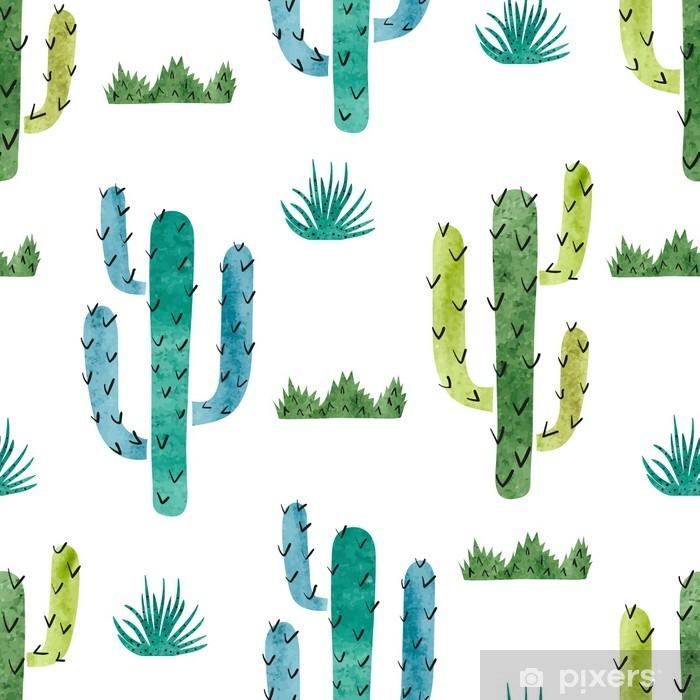 Naklejka Pixerstick Akwarela kaktus szwu. Wektor tła z zielonym i niebieskim kaktus na białym. - Rośliny i kwiaty