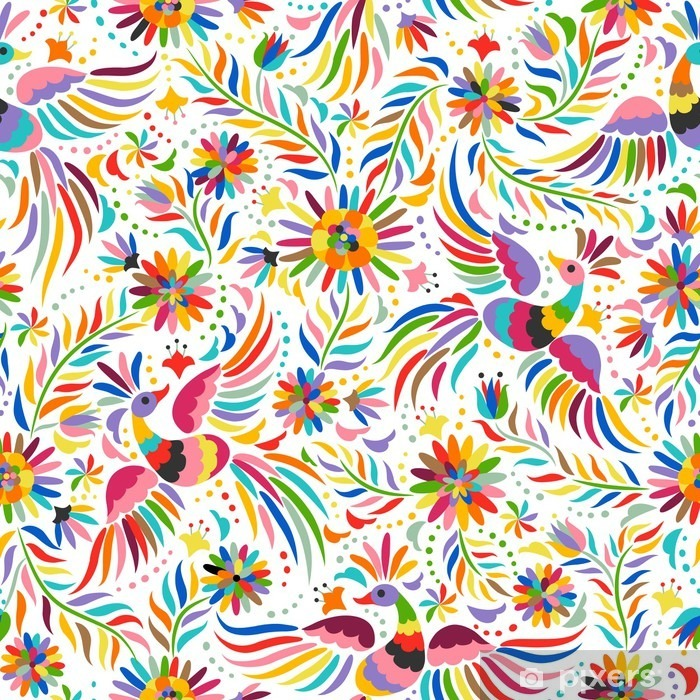 Fotomural Estándar Bordado mexicana patrón transparente. patrón de colores étnicos y adornado. Los pájaros y las flores de luz de fondo. Fondo floral con el ornamento étnico brillante. - Recursos gráficos