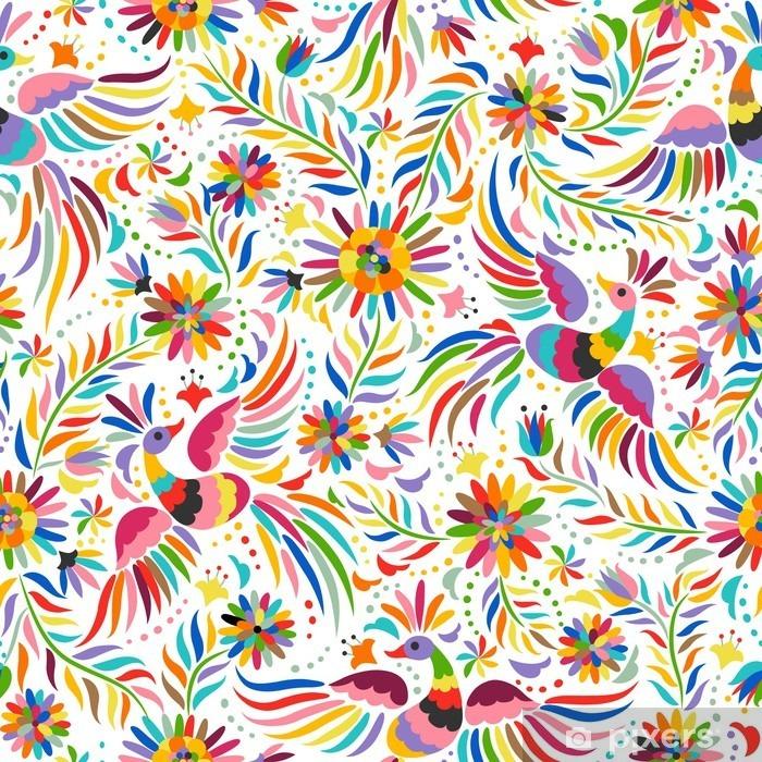 Fototapeta winylowa Mexican hafty bez szwu. Kolorowe i etnicznych ozdobny wzór. Ptaki i kwiaty jasnym tle. Floral tła z jasnym ornamentem etnicznej. - Zasoby graficzne