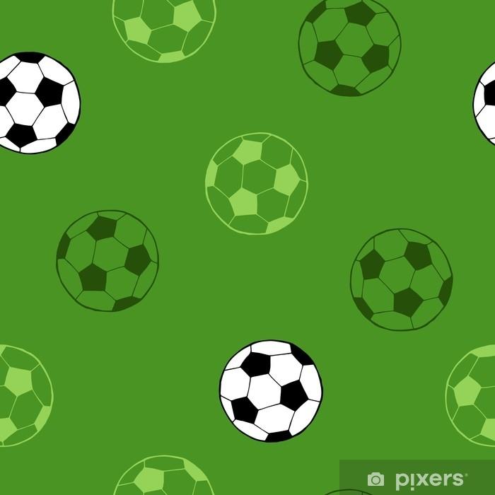 Fotomural Estándar Balompié fútbol deporte bola arte gráfico fondo verde  sin costura patrón ilustración vectorial 2255b858f6e0d