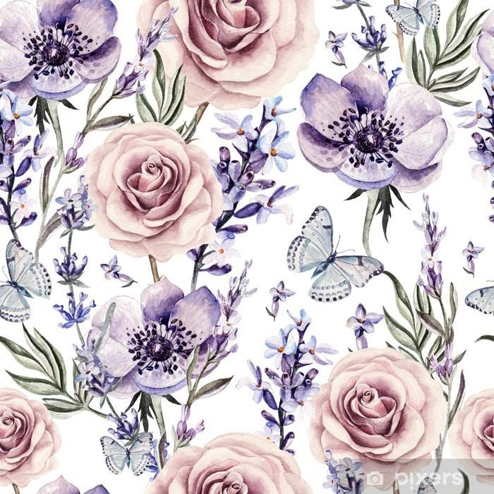 Naklejka Pixerstick Wzór akwarela z kolorami lawendy, róż i anemon. - Kwiaty i rośliny
