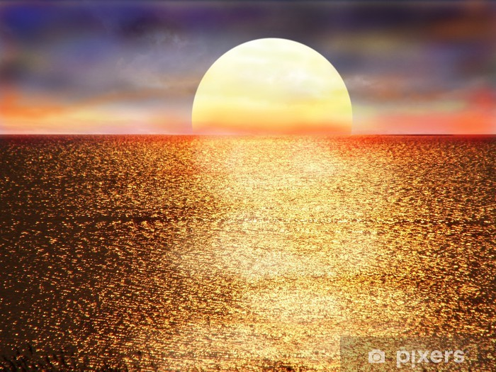 Vinyl-Fototapete Sonnenuntergang - Wasser
