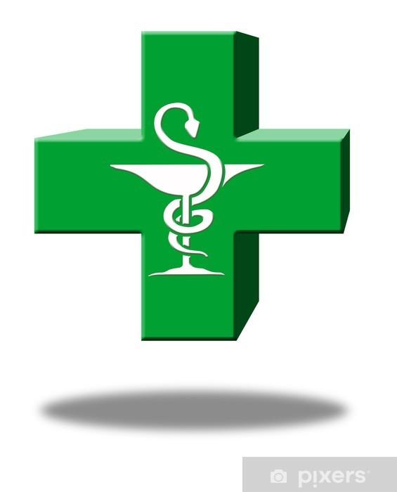 croix pharmacie 3D caducée Pixerstick Sticker - Health and Medicine
