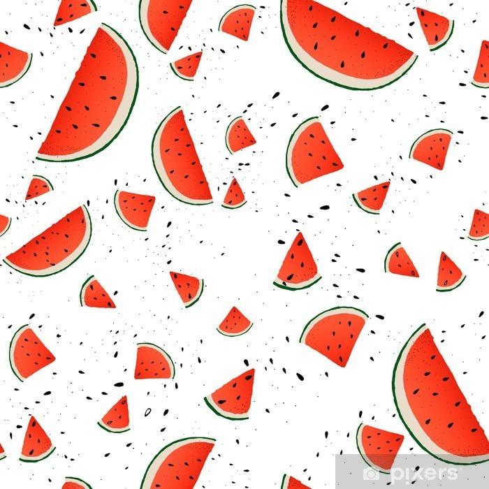 Kaststicker Naadloos Patroon Van Watermeloen Plakjes Vector Zomer Achtergrond Met De Hand Getekende Plakken Watermeloen Vector