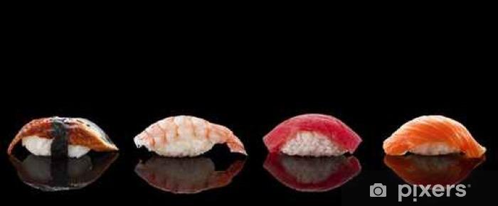 Carta da Parati in Vinile Nigiri sushi su sfondo nero - Cibo