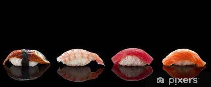 Fototapeta winylowa Nigiri sushi na czarnym tle - Jedzenie